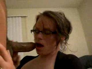 my hot wife at it again....sucking off giant black cocks and making me watch....and then clean up the mess she made