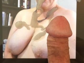 Thank you very much for covering my tits, Vegas50! What a nice load of hot cum. Mmm... These are the gifts that Mrs. Shutterbug58 prefers to receive from friends. Hope to see more on my married tits!