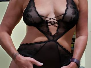 Bought some new lingerie and showing off for the hubby. So horny I\'m sliding my hand inside and rubbing my pussy. Who wants to join us?