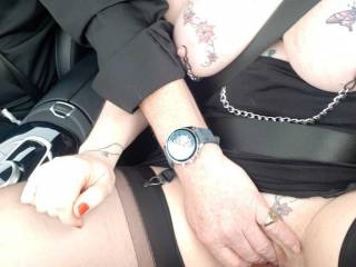 A bit of light fingering in the Benz! Sally is very accommodating like that!