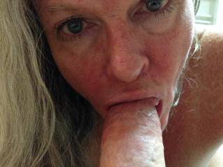 Let me look deep into your eyes while I love on your cock and swallow your cum.