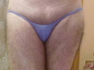 Another tiny blue panties for my small cock .. do u like them ?