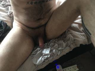 Love when I'm just out the shower all clean with soft fluffy bush & small soft cock