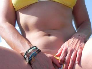 Ms. likes going through yoga poses in her new yellow bikini. We are so happy to be back and very blessed to be in the sun again. Naughty, naughty showing off her pussy already. Please comment and vote. Happy Spring, cheers!