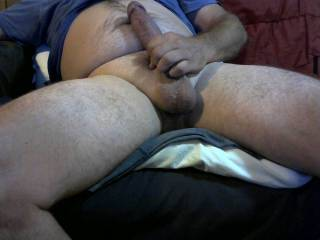 rubbing my dick on my hairy belly feels so good. comments plz