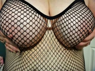 Wifes' Tits in a fishnet bodysuit -please send pictures if you like!