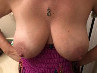 Wife showing me her big tits