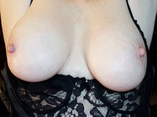 Ready, willing and able!  I'd love to kiss, suck and nibble on those tits....when those nipples are long and hard I'll roll them and tug on them ....