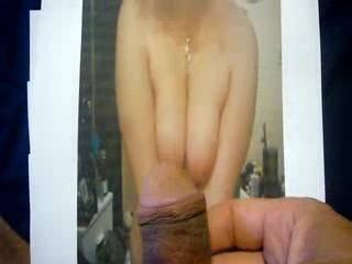 cumming on maureena's feet while looking at her titties