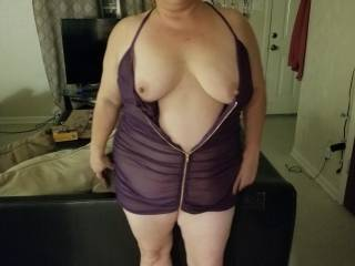 New outfit unzipped by hubby