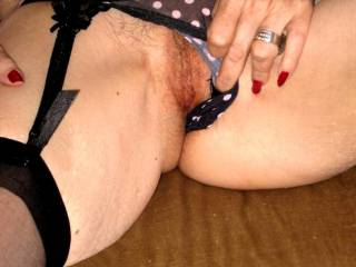 Just thought I\'d pull my panties aside so you get a nice view of my pussy. Does it look tasty to you?