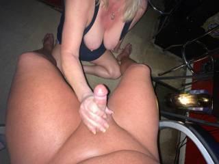 big tit wife stroking