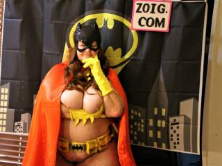 Batgirl Kelly deep in thought: would you like to share with her what YOU\'RE Thinking?