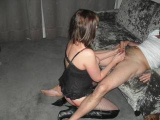 I can save her loads of time by not having to waste it on that part; my dick will be hard before the trousers come off, just knowing I'm going to have sex with her. It's likely to rather have some pre-cum instaed...