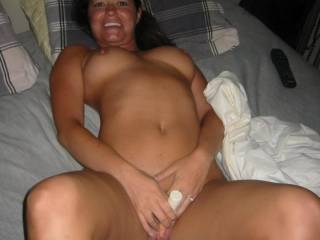 LOVE that body!!! GORGEOUS smile, AWESOME breasts and would LOVE to spend LOTS of time caressing and kissing those sweet thighs!!!
