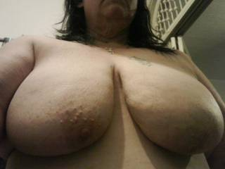 I can only imagine what those big white naturals would feel like wrapped around my black cock.