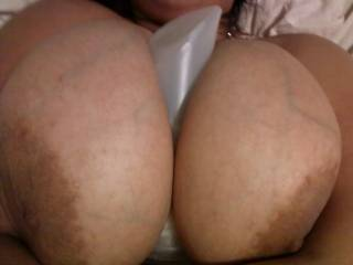 Such big, beautiful titties. Perfect for a great titty-fuck so you had to choose between cum on your tits or in your mouth.