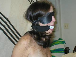 Tied wife getting ready for some pushed deep throat