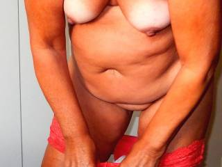 Your wife has a fantastic body, love her tits and natural belly...i really want to fuck her bareback