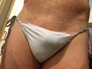 side ties white bikini