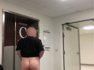 Taken at work. I couldn't resist a dare. I barely got my pants back on before the elevator doors opened.