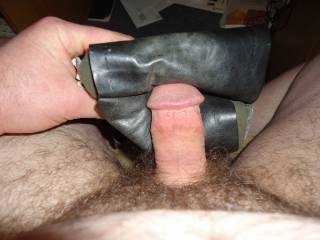 i love the feel of leather against my cock so much i had to make a toy to fuck if you want to know more just ask