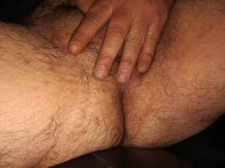 Hairy ass ready for anal beads