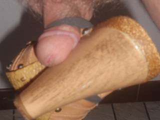 Small dick tied to high heel mule