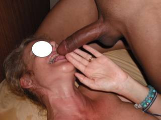 Licking and sucking a lovely big smooth tight cut and pierced black cock at the swinger party on Australia Day