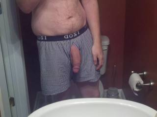 Just me taking a pic in the mirror with a semi-erect cock. What do you think ladies?