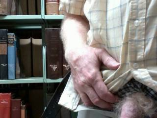 Unzipped and exposed my limp fat dick in the library.