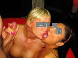 Finishing off some good cock sucking at a lifestyle club party with blonde who\'s GF of the guy made cum
