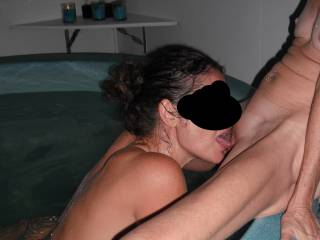 Fun with our swinger friend in the spa at home, when she came around for a threesome. She is very bi, so we both have a lot of fun with her.