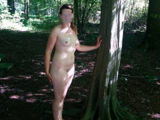 Hot day in the forest, might as well get naked.