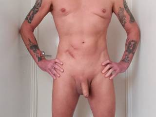Another pose with me showing my soft cock and full body shot. I was hard just after this when I took myself in hand though.