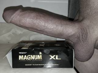 Largest condom on the market (in stores), and they still feel too tight. Here is a shot before the condom is put on.