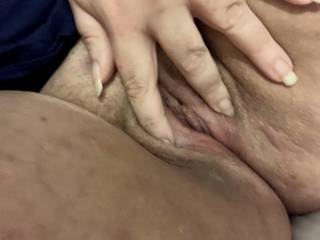 pet spreading her pussy lips for you all. I allowed her to have a little play, but not too much!