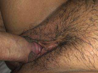 He cums just inside her tight pussy. Gives her a creampie