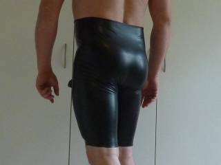 Hubbys new latex outfit with a hollow dildo inside - like?