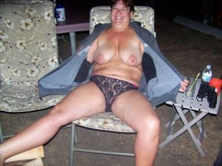 my slutty wife Stacy flashing out at the river
