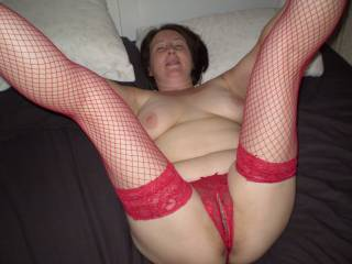 yeah sexy housewife keep them on as I,m fucking you I,m going to suck your hot tits
