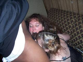 Oh yes I know how good this feels to hot sexy white wifes sucking me off at the same time lucky man Mmmmmmmm