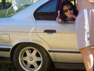 Mmmmm, do you like to go out dogging?  Ooooo, this is a hot picture. We could both be in the back seat sucking cocks.  You on one side and me on the other.  MILF K