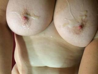 Oh yes, I'd enjoy adding even more cum to your big boobs and soft stomach.