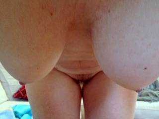 My wife's tits hanging down over me ...