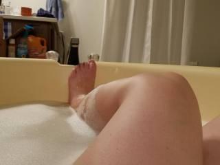 E taking a nice long hot bath