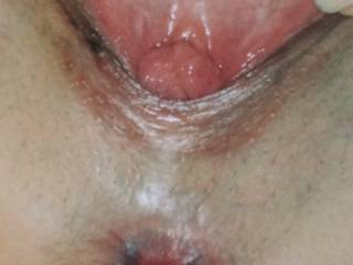 My wife open the pussy for you! Want to fill it with your cum?? Tell as and rate her pussy.