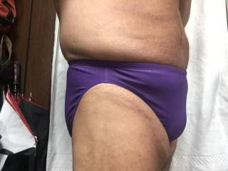 Purple bikini bulge closeup