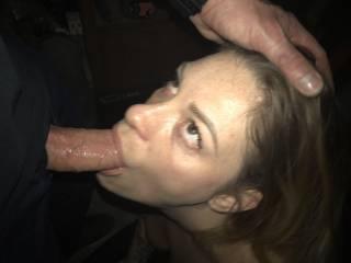 Sucking his dick deep throat like the good girl I am.