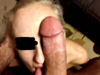 Look at my cock. It's as big as her face. And somehow she swallows almost the whole thing.